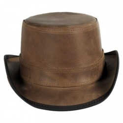 UNISEX LEATHER STOKER DOUBLE STITCH TOP HAT