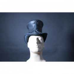 BLACK SKULL LEATHER LACE LEATHER TOP HAT