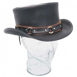 FASHION STEAMPUNK BLACK LEATHER TOP HAT