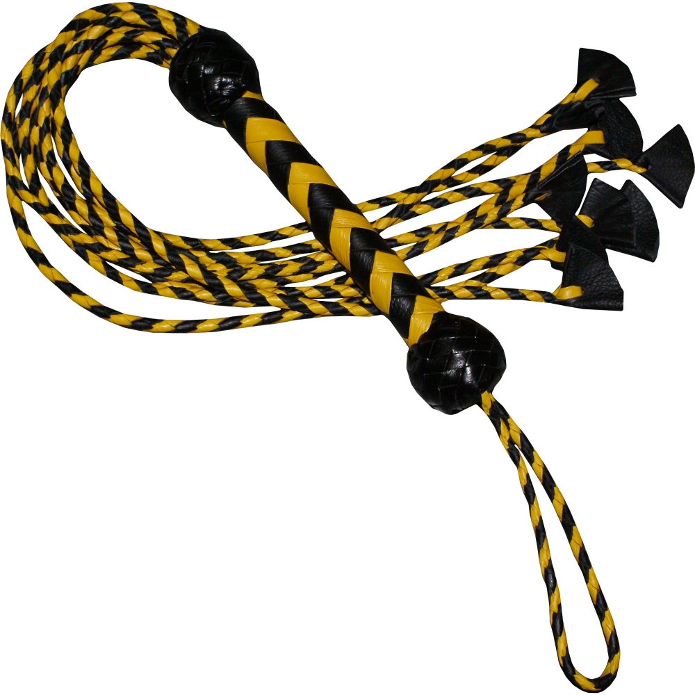 BLACK  YELLOW BULLWHIPS FLOGGER