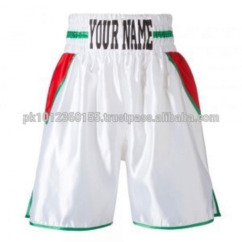 Custom Made Boxing Shorts Men Kick Boxing White And Red