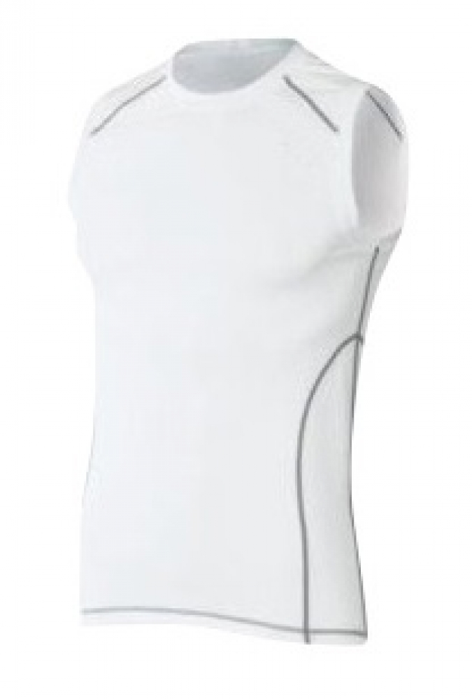 White Plain Sleeveless MMA Men Rash Guard